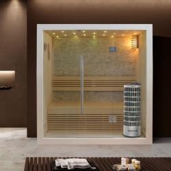 EO-SPA Sauna E1103C topoľ 120x105 6.8kW Cilindro