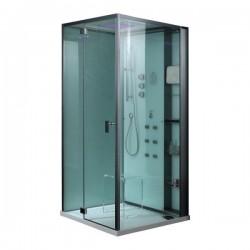 EAGO parná sprcha DZ981-1F9 biela 100x100 ľavá